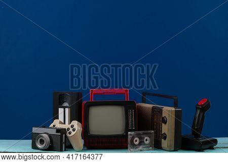 Retro Portable Mini Tv Set With Headphones, Radio Receiver, Joystick, Camera,  Gamepad, Audio And Vi