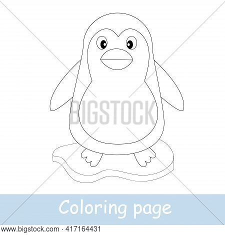 Cute Cartoon Penguin Coloring Page. Learn To Draw Animals. Vector Line Art, Hand Drawing. Coloring B
