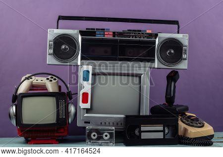Retro Portable Mini Tv Set,  Radio Receiver, Record Player, Headphones, Joystick, 3d Glasses, Gamepa