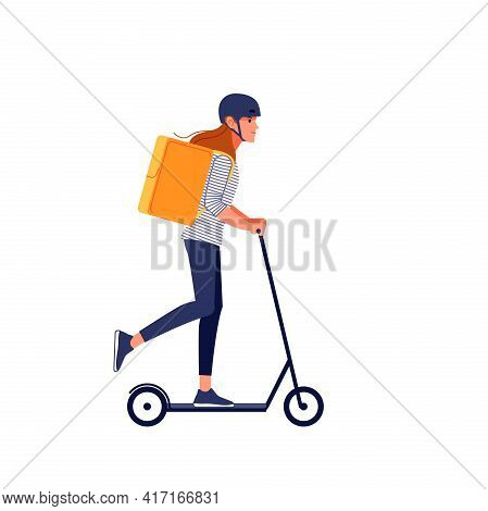 Young Delivery Woman In Helmet With Thermo Bag Or Backpack Riding A Scooter Along The City, Deliveri