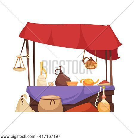 Outdoor Stall With Souvenir Cups Dishes Vases Lamps At Eastern Market Flat Vector Illustration