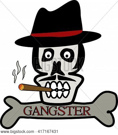 Skull Gangster Head With Cigar And Bone