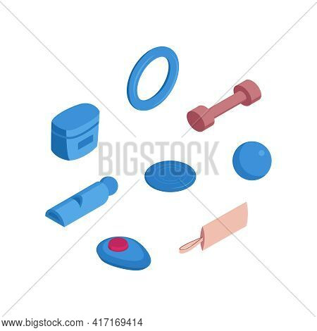 Isometric Dog Training Cynologist Composition With Isolated Icons Of Toys And Tools For Dog Training