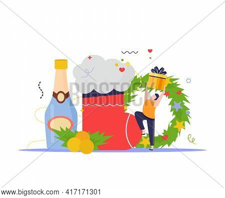 Merry Christmas And Happy New Year Composition With Man Holding Gift Box With Champagne Sock And Wre