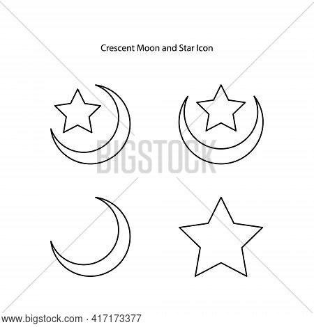 Crescent Moon Icon Set Isolated On White Background. Crescent Moon Icon Trendy And Modern Crescent M