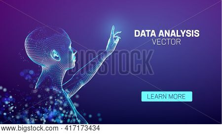 Data Analysis Ai Assistant. Ai Big Data Technology. Security Vr Girl Assistant. Artificial Intellige