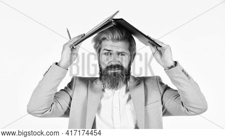 Work From Home. Portrait Of Businessman Hold Office Folder. Professional Businessman Waiting For Par
