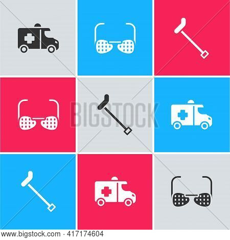 Set Emergency Car, Blind Glasses And Walking Stick Cane Icon. Vector