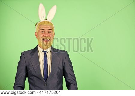 Easter Activities For Office. Bearded Man Bunny Ears On Head. Businessman Wear Bunny Costume Accesso