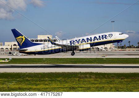 Luqa, Malta - November 23, 2016: Ryanair Passenger Plane At Airport. Schedule Flight Travel. Aviatio