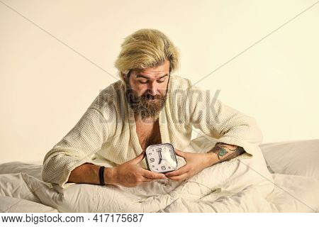 Quality Of Sleep You Get Is Also Important. Stressed Man Alarm Clock. Sleepy Guy And Alarm Clock In