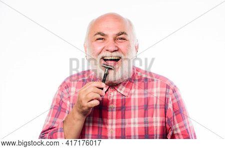 Smooth Clean Skin. Man Bearded Handsome Barber Carefully Use Tool Shaving Beard. Shaving Facial Hair