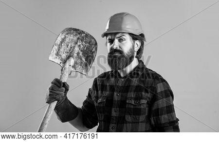Construction Worker In Hard Hat. Engineer Architect In Safety Helmet. Brutal Technician Builder. Fac