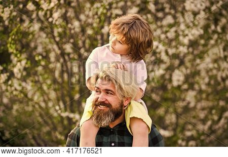 Happy Family. Fathers Day. Child Having Fun With Dad. Little Boy And Father In Nature Background. Sp