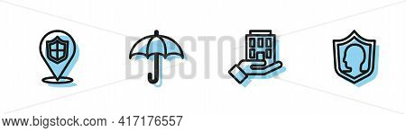 Set Line House In Hand, Location Shield, Umbrella And Life Insurance With Icon. Vector