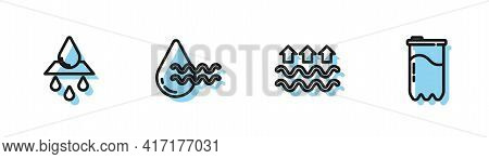 Set Line Waves Of Water And Evaporation, Recycle Clean Aqua, And Water Filter Cartridge Icon. Vector