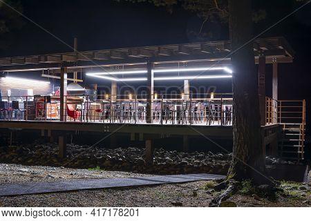 Altai Republic, Russia-september 10, 2018:  An Open Veranda Of An Ice Cream Parlor In A Park On The