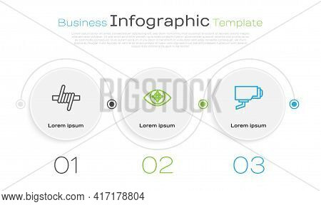 Set Line Barbed Wire, Eye Scan And Security Camera. Business Infographic Template. Vector