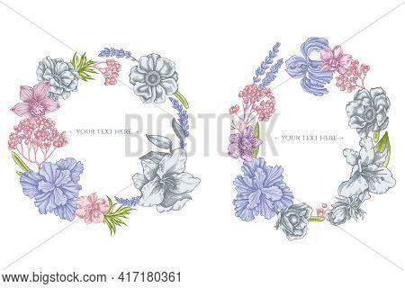 Floral Wreath Of Pastel Anemone, Lavender, Rosemary Everlasting, Phalaenopsis, Lily, Iris Stock Illu