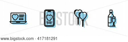 Set Line Balloons In Form Of Heart, Dating App Online, Online Dating And Chat And Champagne Bottle I