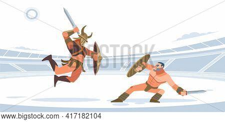 Spartan Warriors Fighting In Gladiators Arena. Gladiatorial Fight. Thracian Vs Spartacus. Vector Iso