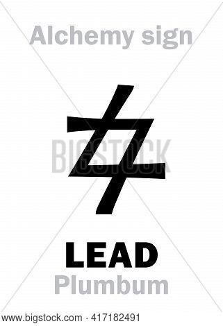 Alchemy Alphabet: Lead (plumbum, Plumbum Nigrum; Saturn), One Of Seven Ancient Metals, Inferior Meta