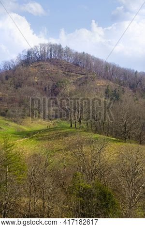 Hilltop Landscape In The Mountains Of North Carolina