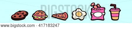 Set Of Fatty Foods Cartoon Icon Design Template With Various Models. Modern Vector Illustration Isol