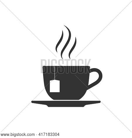 Cup Tea With Vapour Graphic Icon. Cup Of Hot Tea Sign Isolated On White Background. Vector Illustrat