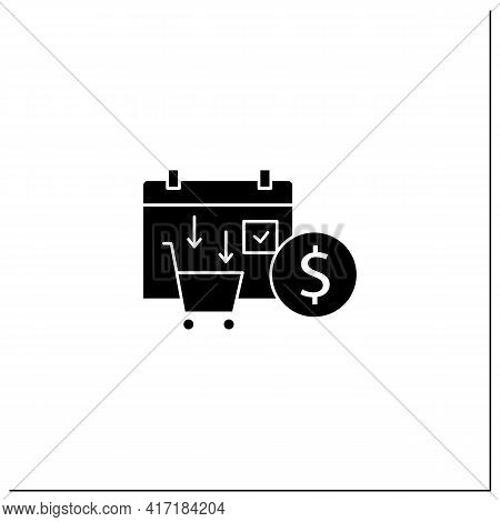 Asset Purchase Date Glyph Icon.stock Purchase Process. Calendar. Business Concept. Filled Flat Sign.