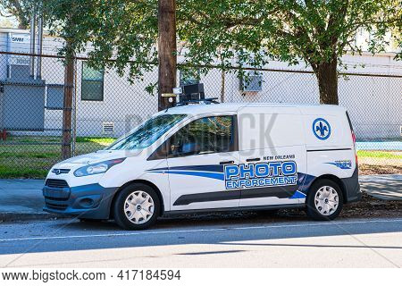 New Orleans, La - February 23: New Orleans Police Department Photo Enforcement Vehicle Monitors Scho