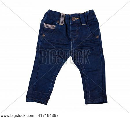 Children's Wear - Jeans Isolated Over White Background. Baby Denim Pants Close Up Isolated On White