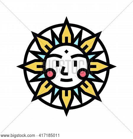 Sun Occult Symbol Color Icon Vector. Sun Occult Symbol Sign. Isolated Symbol Illustration