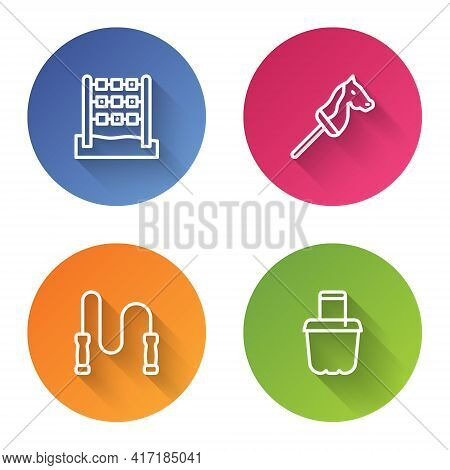 Set Line Tic Tac Toe Game, Toy Horse, Jump Rope And Sand In Bucket. Color Circle Button. Vector
