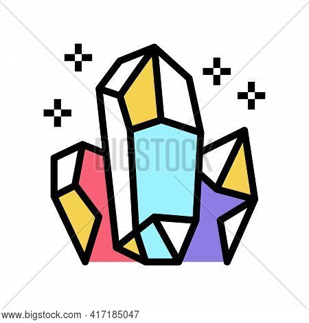 Crystals Astrological Color Icon Vector. Crystals Astrological Sign. Isolated Symbol Illustration