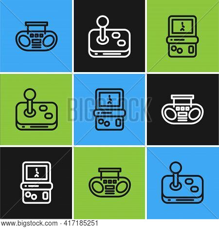Set Line Home Stereo With Two Speakers, Tetris And Joystick Icon. Vector