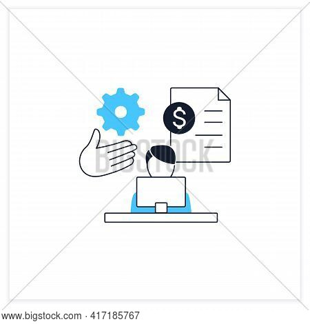 Payroll Management Flat Icon.staff Administration, Managementing Financial Reports, Salaries And Bon