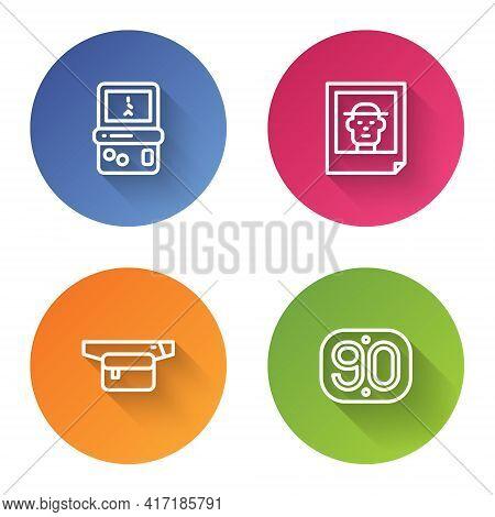 Set Line Tetris, Photo, Waist Bag Of Banana And 90s Retro. Color Circle Button. Vector
