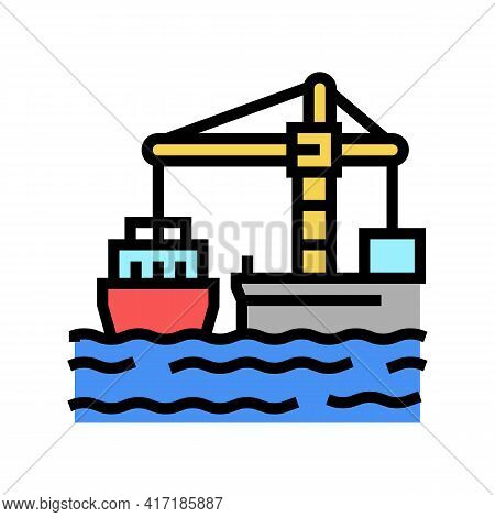 Crane Loader Port Machine Color Icon Vector. Crane Loader Port Machine Sign. Isolated Symbol Illustr