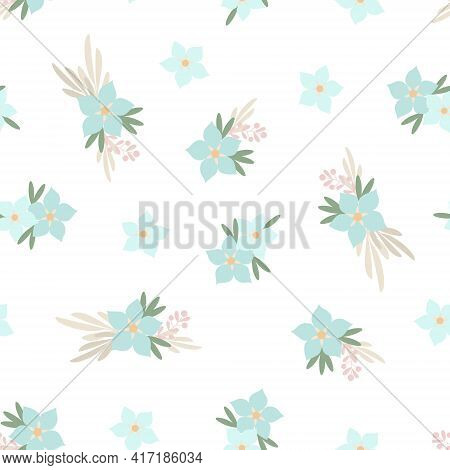 Simple Pastel-colored Floral Seamless Pattern, Flowers, Leaves Flat Style Vector Illustration, Symbo