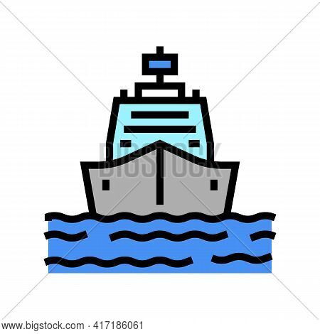 Ship Entering In Port Color Icon Vector. Ship Entering In Port Sign. Isolated Symbol Illustration