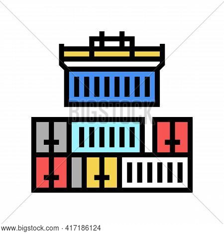 Containers Loader Port Color Icon Vector. Containers Loader Port Sign. Isolated Symbol Illustration