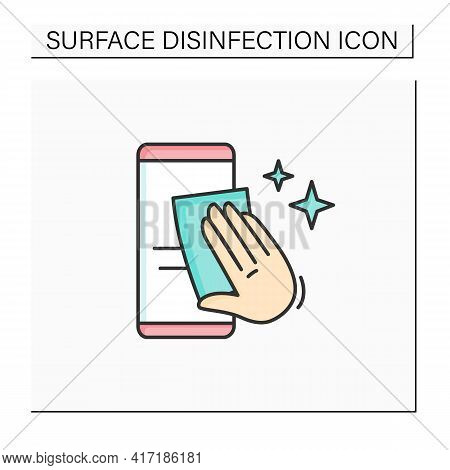 Smartphone Disinfection Color Icon. Wiping Mobile Phone Display With Cleaning Cloth Linear Pictogram