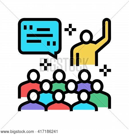 Member Forum Answering On Question Color Icon Vector. Member Forum Answering On Question Sign. Isola