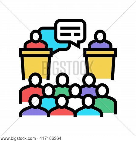 Debate On Forum Color Icon Vector. Debate On Forum Sign. Isolated Symbol Illustration