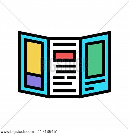 Handout Flyer Of Forum Color Icon Vector. Handout Flyer Of Forum Sign. Isolated Symbol Illustration