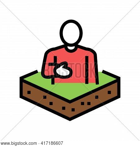 Owner Land Color Icon Vector. Owner Land Sign. Isolated Symbol Illustration