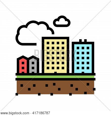 Residential Apartment Zone Land Color Icon Vector. Residential Apartment Zone Land Sign. Isolated Sy