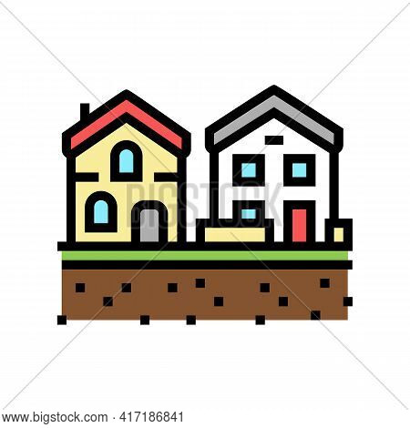 Residential Estate Zone Land Color Icon Vector. Residential Estate Zone Land Sign. Isolated Symbol I