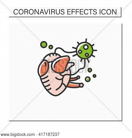 Heart Damage Color Icon. Covid Hearth Attack. Concept Of Corona Virus Cardio Health Effect And Infec